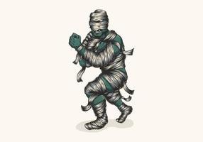 ilustração de lutador de múmia de zumbi vetor