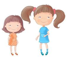 Meninas de bonito dos desenhos animados. vetor