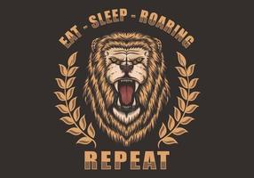 Ilustração de rugido de leão com comer, dormir, rugindo repetir slogan vetor