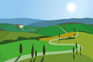Paisagem com montanhas e colinas. Toscana, fundo de recreação ao ar livre.