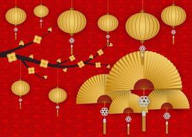 Ano novo chinês árvore flor ouro lanternas saudação