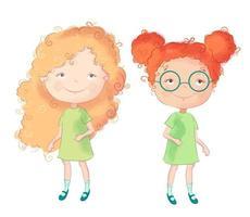 Meninas bonito dos desenhos animados