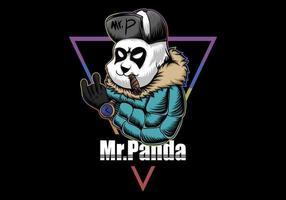 Panda com casaco, chapéu e charuto ilustração vetor