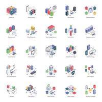 Ilustrações isométricas do servidor de banco de dados vetor