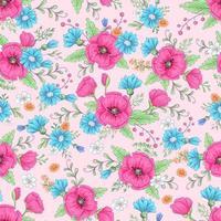 Papoilas cor de rosa e margaridas azuis sem costura padrão vetor
