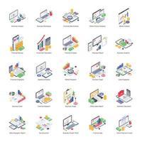 Pacote de análise de dados de ícones isométricos vetor
