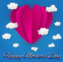 Feliz dia das mães coração fundo vetor
