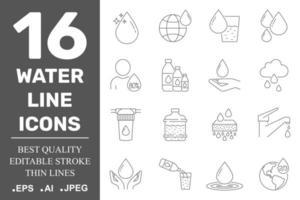 Conjunto de ícones de água no estilo de linha fina. vetor