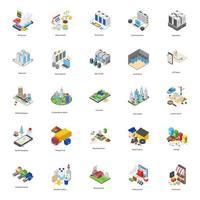 Ícones isométricos de fábricas