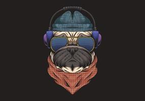 cão pug, usando ilustração de fones de ouvido vetor