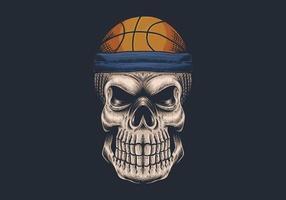 crânio com ilustração de cabeça de basquete vetor