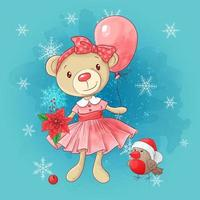 Bonito cartão de Natal com urso de pelúcia menina dos desenhos animados