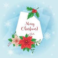Lindo cartão de Natal com Poinsétia vetor