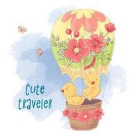 Galinhas bonito dos desenhos animados em um balão