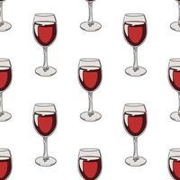 Sem costura de fundo com copos de vinho tinto. vetor