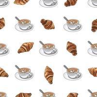 Padrão sem emenda xícara de café ou cappuccino com croissants. vetor