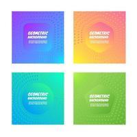 Conjunto de fundo colorido geométrico vetor