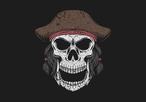 crânio, usando, chapéu pirata, ilustração vetor