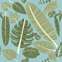 Folhas tropicais sem costura padrão vetor