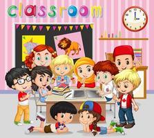 Alunos aprendendo em sala de aula vetor