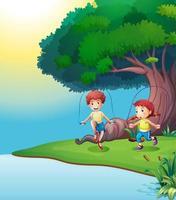 Um menino e uma menina brincando perto da árvore gigante vetor