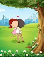 Um casal se abraçando perto da árvore vetor