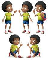Cinco meninos afro-americanos vetor