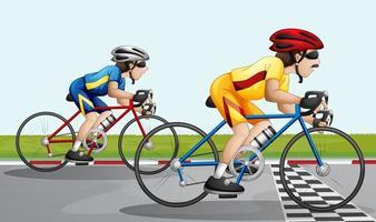 Uma corrida de bicicleta vetor