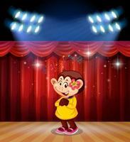Um macaco toca no palco vetor