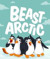 Pinguins em pé no gelo vetor
