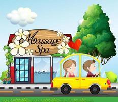 Um casal andando de carro perto do spa de massagem vetor