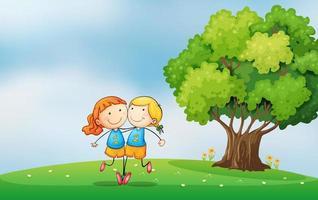 Melhores amigas no topo da colina perto da árvore vetor