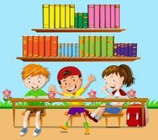Três estudantes, apoiando-se na sala de aula vetor
