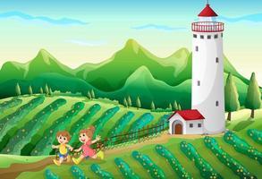 Crianças brincando na fazenda vetor