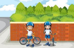 Dois jovens motociclistas na rua vetor