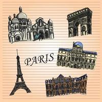 Arte de desenho de caderno de Paris vetor