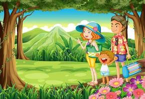 Uma família na floresta vetor