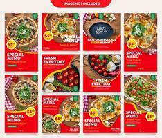 Pacote de vetores de mídia social culinária