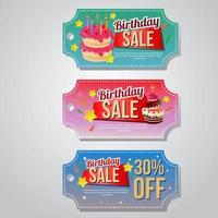 conjunto de bolo de modelo de cupom de venda de aniversário vetor