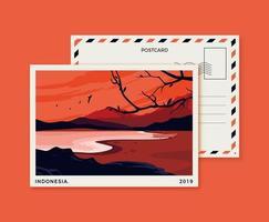 cartão postal da Indonésia com praia vetor