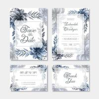 Modelo de cartão de convite de casamento com decoração de flores em aquarela azul