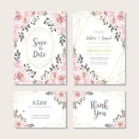 Cartão de convite de casamento vintage com modelo de decoração de flores em aquarela vetor