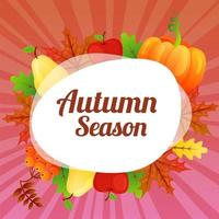 lindo tema colorido do cartão de outono vetor