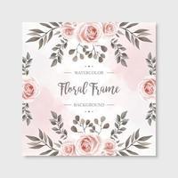 Fundo de quadro vintage aquarela floral rosa flores vetor