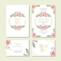 Modelo de cartão de convite de casamento com decoração de flores em aquarela vintage vetor