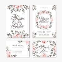 Modelo de cartão de convite de casamento vintage com decoração de flores em aquarela