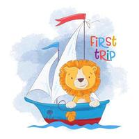 Leão bonito dos desenhos animados em um barco à vela