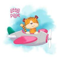 Tigre bonito dos desenhos animados em um avião