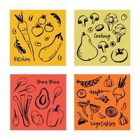 Cartazes de belo vetor com mão desenhados legumes.