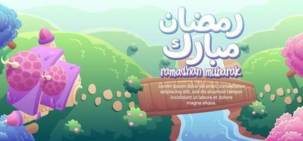 Ramadhan Mubarak com uma mesquita bonita e uma ponte de madeira vista superior vetor
